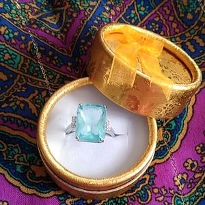 Blue Crystal Diamond Ring